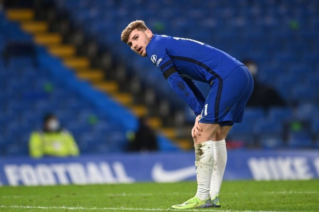 Timo Werner looks on during Chelsea's Premier League clash with Manchester City