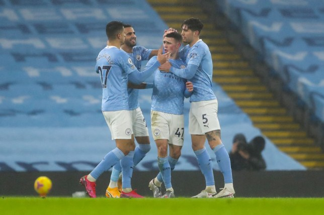 Phil Foden celebrates his goal for Manchester City against Brighton in the Premier League
