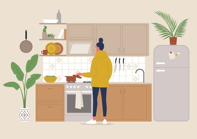 A young female character cooking meal in the boho style cozy kitchen, millennial lifestyle