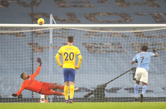 Raheem Sterling misses a penalty for Manchester City against Brighton