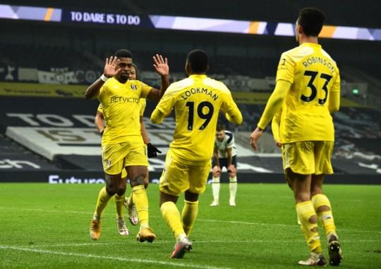 Ivan Cavaleiro celebrates his goal for Fulham against Tottenham