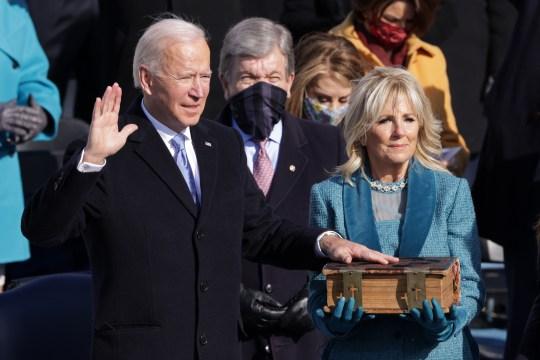 Joe and jill biden at his inauguration ceremony