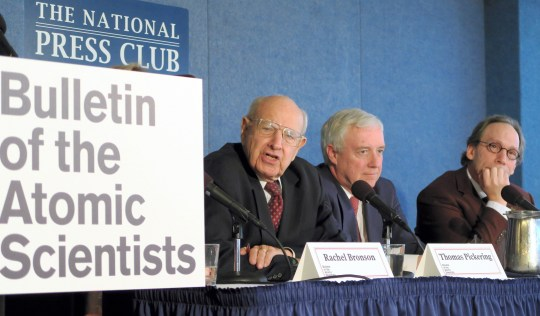 Members of the Bulletin of Atomic Scientists unveil the changes made on the Doomsday Clock