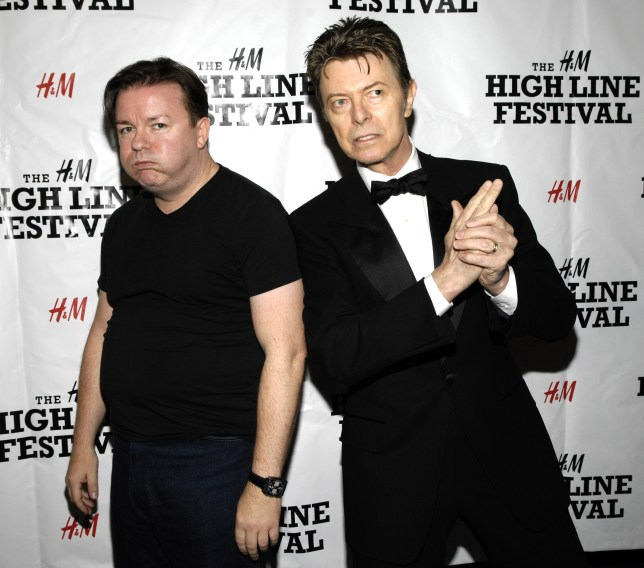 David Bowie and Ricky Gervais.