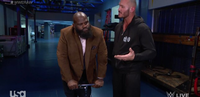 WWE legend Mark Henry with Randy Orton on Raw