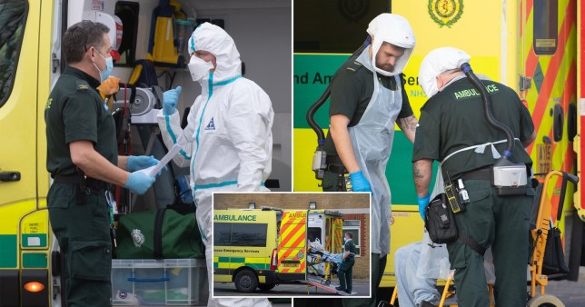 Ambulance staff amid the coronavirus outbreak in the UK