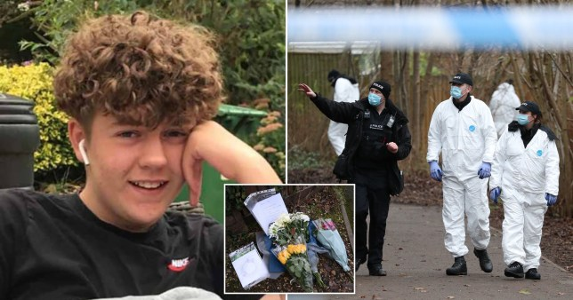 Picture of stabbing victim Oliver Stephens, 13, flowers, and a forensics team