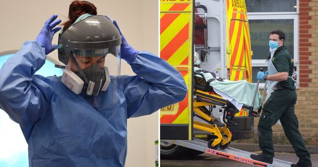NHS staff put on a mask and load patients into an ambulance