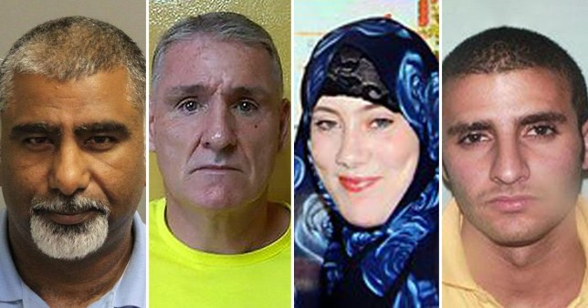Red Notices have been issued for Hussain Asad Chohan (l), Leo Morgan, Samantha Lewthwaite and Abdulhak Farouk (Picture: file images)