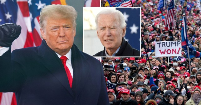 Donald Trump, Joe Biden and Trump supporters