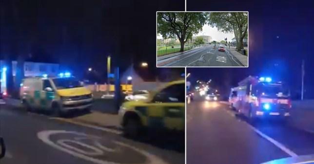 Emergency vehicles at the scene last night