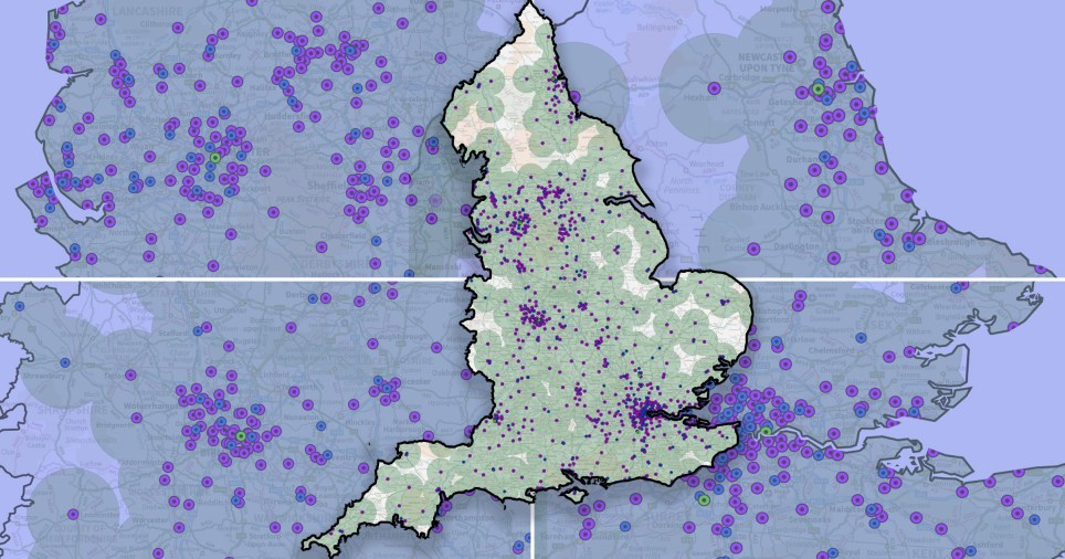The map shows where the vaccination sites are in the UK