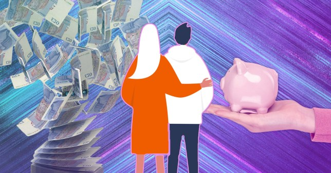 illustration of couple, piggy bank and money