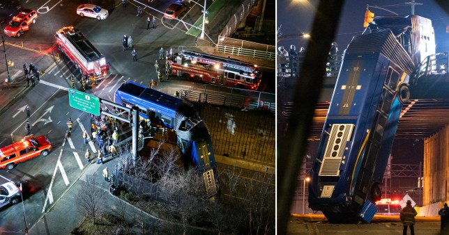 Several injured after bendy bus crashes off steep overpass and ends up vertical