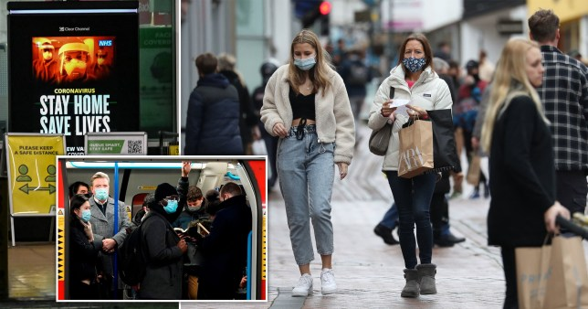 Women shop with facemasks on before the lockdown