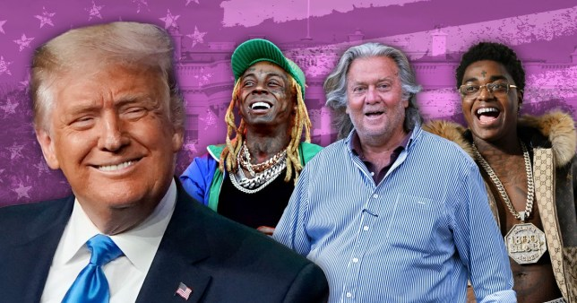 Donald Trump, Lil wayne, Steve Bannon and Kodak Black (who are all on the President's final list of pardons)