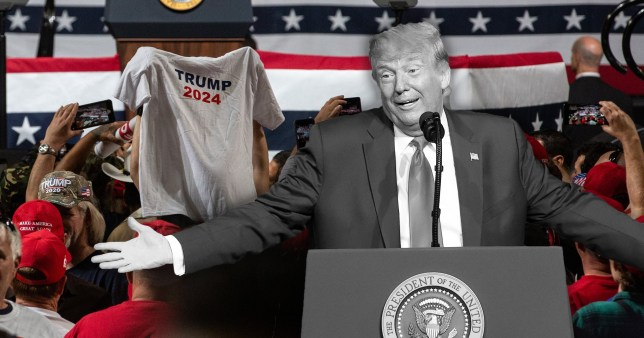 A Trump supporter holds a 'Trump 2024' t-Shirt at a rally for the outgoing US president
