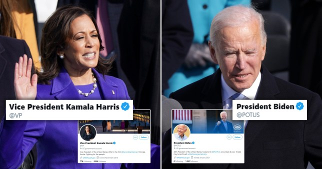 Joe Biden and Kamala Harris have taken over the official Twitter accounts for their new roles
