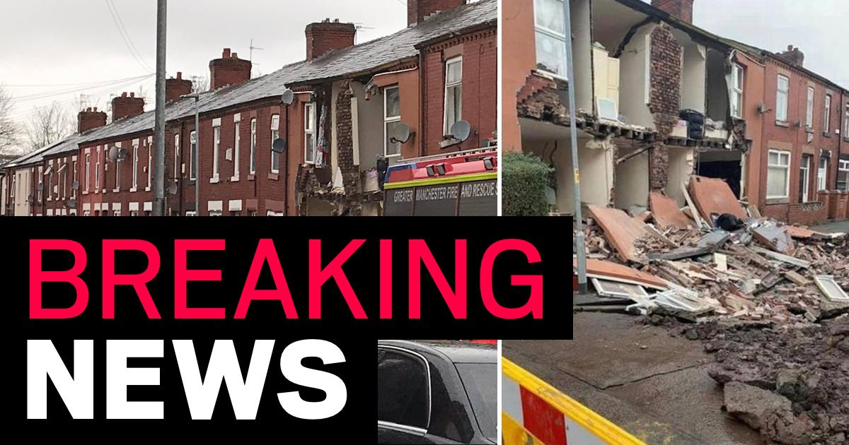 Sinkhole swallows front of two houses in Manchester during Storm Christoph