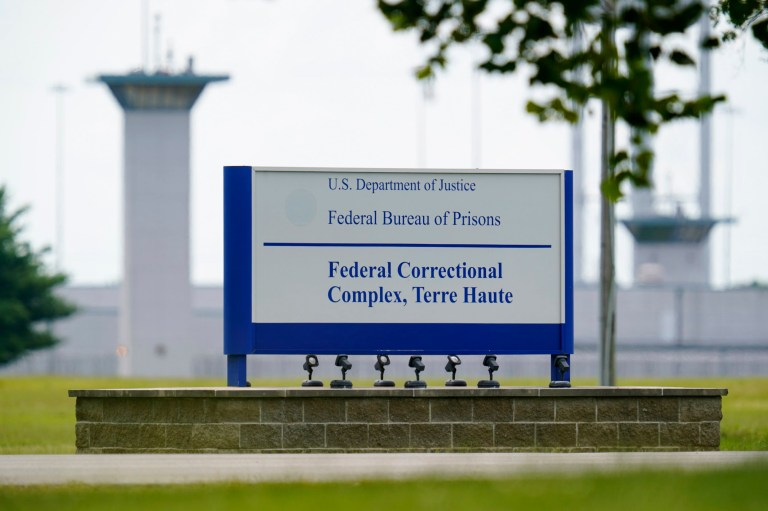 FILE - This Aug. 28, 2020, file photo shows the federal prison complex in Terre Haute, Ind. (AP Photo/Michael Conroy, File)A federal judge said the Justice Department unlawfully rescheduled the execution of the only woman on federal death row, potentially setting up the Trump administration to schedule the execution after president-elect Joe Biden takes office. U.S. District Court Judge Randolph Moss also vacated an order from the director of the Bureau of Prisons that had set Lisa Montgomery???s execution date for Jan. 12, 2021. (AP Photo/Michael Conroy)