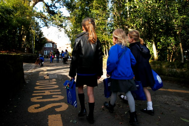 Children walk home from Altrincham C.E. aided primary school