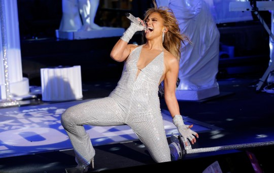 Jennifer Lopez performing in Times Square on NYE