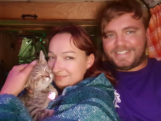 Willow Rolfe and Lee Hodges with Aimee the cat. See SWNS story SWSYmexico. A Brit couple have spent months trapped in Mexico through the coronavirus pandemic - because they can't bear to abandon their rescue CAT. Lee Hodges, 33, and his partner, Willow Rolfe, 29 set off for America in August, 2019, and headed south to Mexico in February when their visas were nearing their end. While in Washington DC, the pair of teachers from Birmingham rescued a cat, Aimee, from an animal shelter, and spent the rest of their trip tending to their new pet. When the pandemic began to spread they wanted to return home but they couldn't bare to leave their cat behind, so decided to stay.