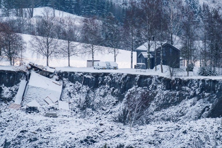 View of the damage following a deadly landslide in Ask, Gjerdrum, Norway January 2, 2021. NTB/Haakon Mosvold Larsen via REUTERS ATTENTION EDITORS - THIS IMAGE WAS PROVIDED BY A THIRD PARTY. NORWAY OUT. NO COMMERCIAL OR EDITORIAL SALES IN NORWAY.