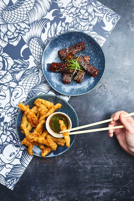 Vegan chilli squid Vegan sticky ribs.