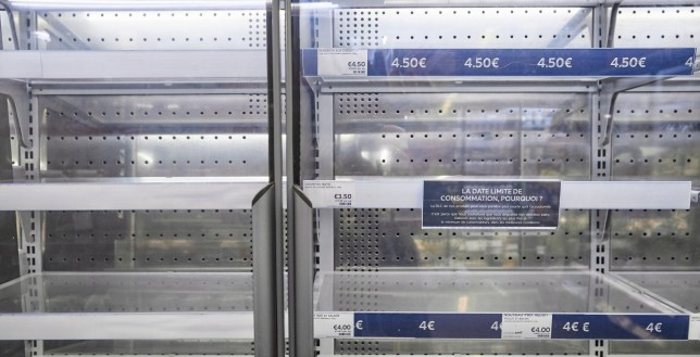 PARIS, FRANCE - JANUARY 04: Empty shelves at Marks and Spencer's in Paris due to import / export legislation after Brexit and the UK leaving the EU on January 04, 2021 in Paris, France. From 1 January 2021 the free movement of people and goods between the UK and the EU ended with some products now needing special licences, certificates and labelling. In 2019 the EU accounted for about 60% of all UK food and drink exports. (Photo by Kiran Ridley/Getty Images)