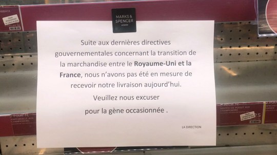 M&S retailers in Paris have already got empty cabinets due to Brexit