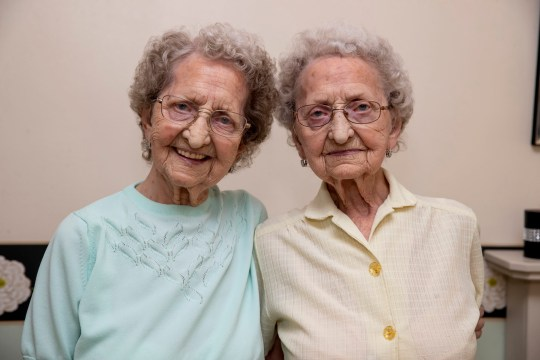 Britain's oldest identical twins Lil Cox and Doris Hobday