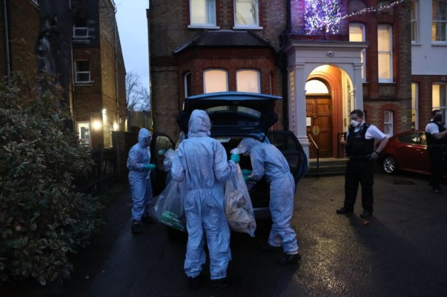 Forensics officers pictures outside the care home today