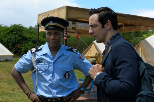 Tobi Bakare and Ralf Little in Death in Paradise