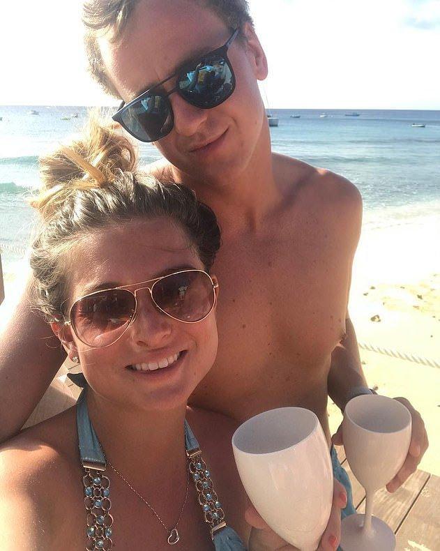 Zara Holland and Elliott Love at Nikki Beach in Barbados