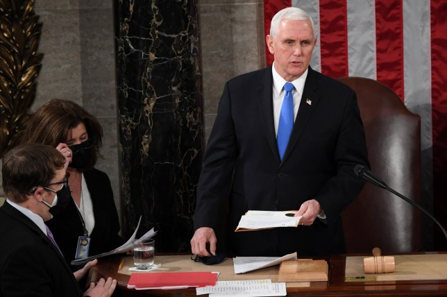 U.S. Vice President Mike Pence takes part in a joint session of Congress to certify the 2020 election results at the U.S. Capitol in Washington, U.S., January 6, 2021. Saul Loeb/Pool via REUTERS