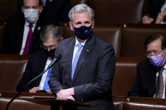 U.S. House Minority Leader Kevin McCarthy (R-CA) speaks in the House Chamber during a reconvening of a joint session of Congress on January 06, 2021 in Washington, DC.