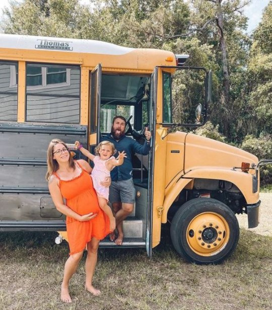 Jake, Gianna and Luna with their schoolbus