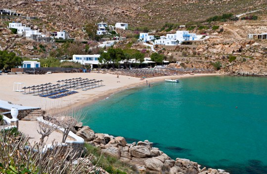 Super Paradise beach at Mykonos island in Greece