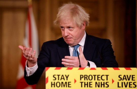 LONDON, ENGLAND - JANUARY 07: British Prime Minister, Boris Johnson speaks during a virtual press conference at No.10 Downing Street on January 7, 2021 in London, England.