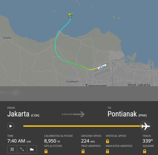L'avion disparaît au-dessus de la mer Image: FlightRadar24