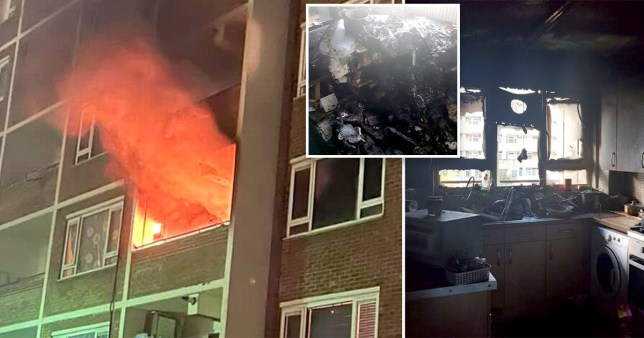 Composite image of Notting Hill flat destroyed by fire after firework thrown onto balcony