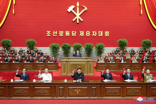 North Korean leader Kim Jong Un attends the 8th Congress of the Workers' Party in Pyongyang. North Korea has threatened to build more nuclear weapons unless the US abandons its 'hostile policy'.