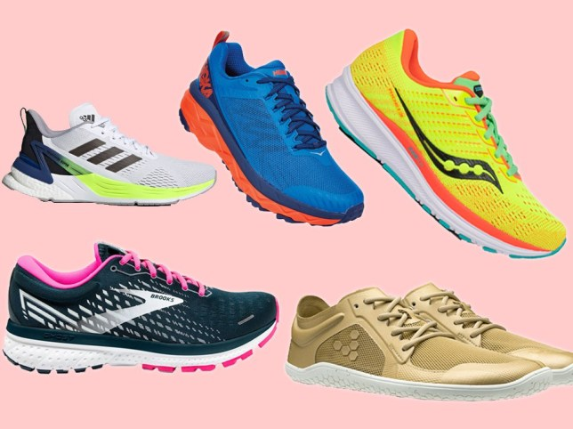 A collection of running shoes on a pink background