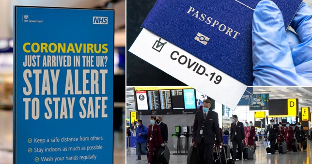 Coronavirus sign about staying alert in the UK, a blue Covid passport and people wearing masks as they walk through the airport. Brits may have to spend two weeks stuck in hotel rooms as new laws require people to follow the quarantine rules of the country they are in if they test positive for coronavirus.