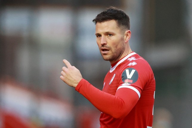 Mark Wright on the pitch for Crawley Town