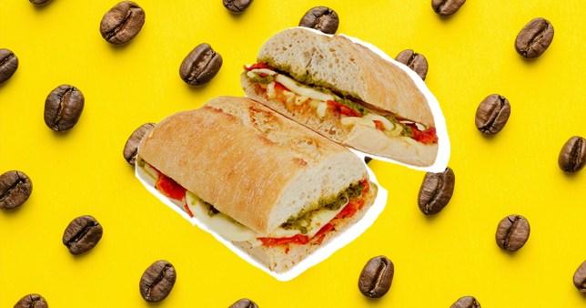 Costa sandwich on coffee bean background