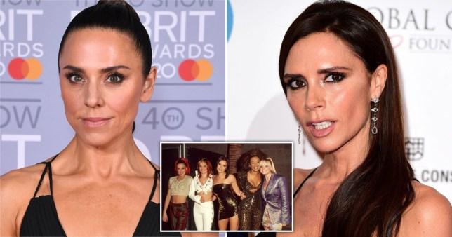 Mel C, Victoria Beckham and an inset of the Spice Girls