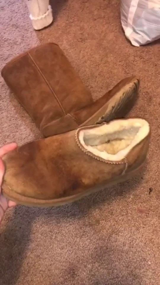 Before and after shot of Ugg slippers