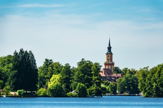 Church on a lake in Templin, Germany.